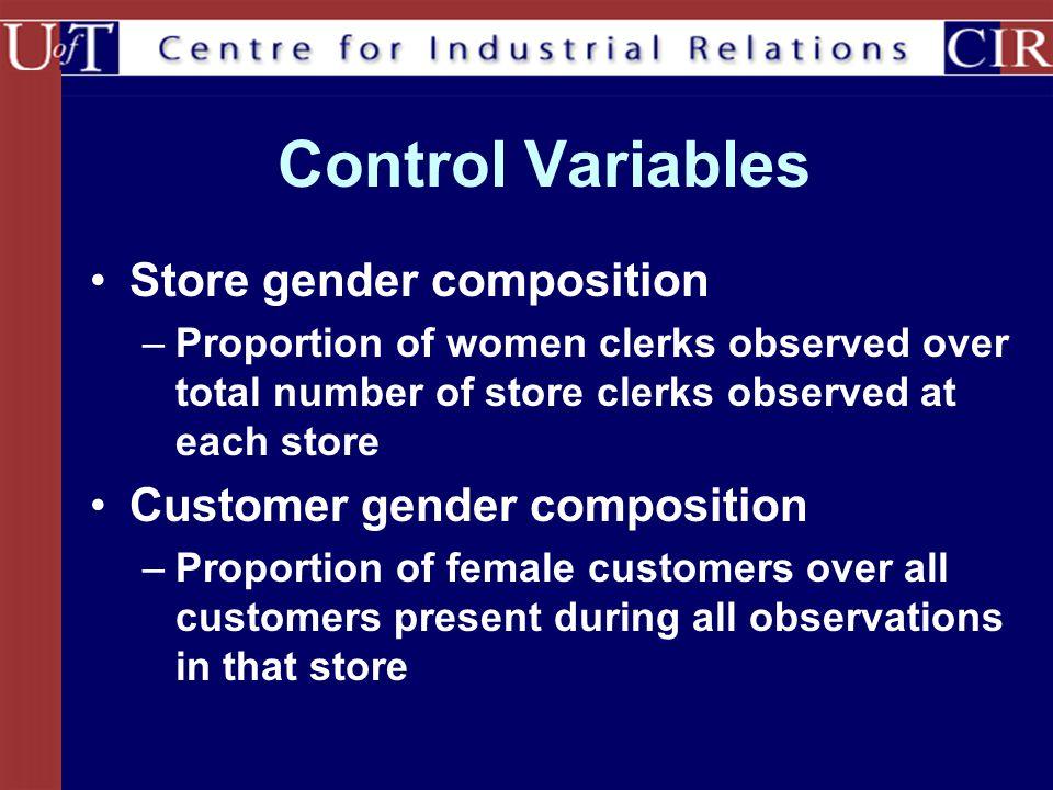 Control Variables Store gender composition Customer gender composition