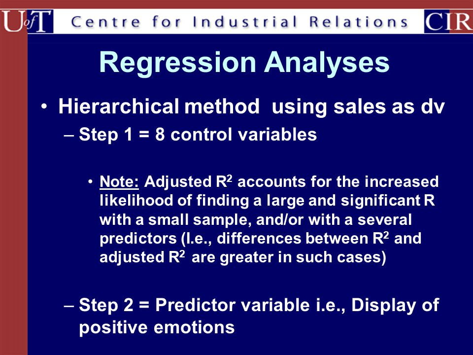 Regression Analyses Hierarchical method using sales as dv