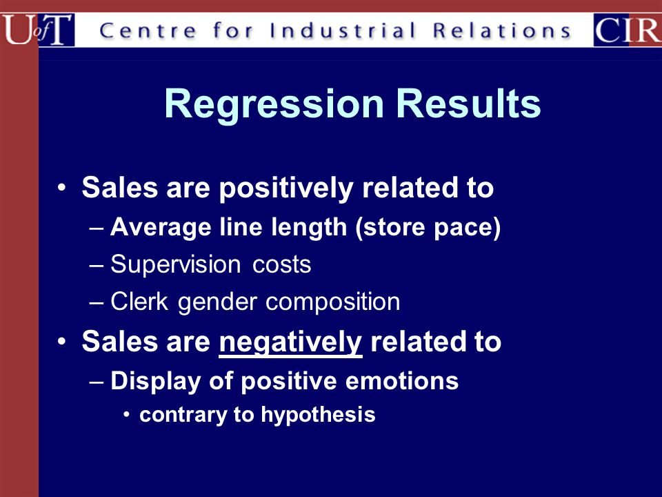 Regression Results Sales are positively related to