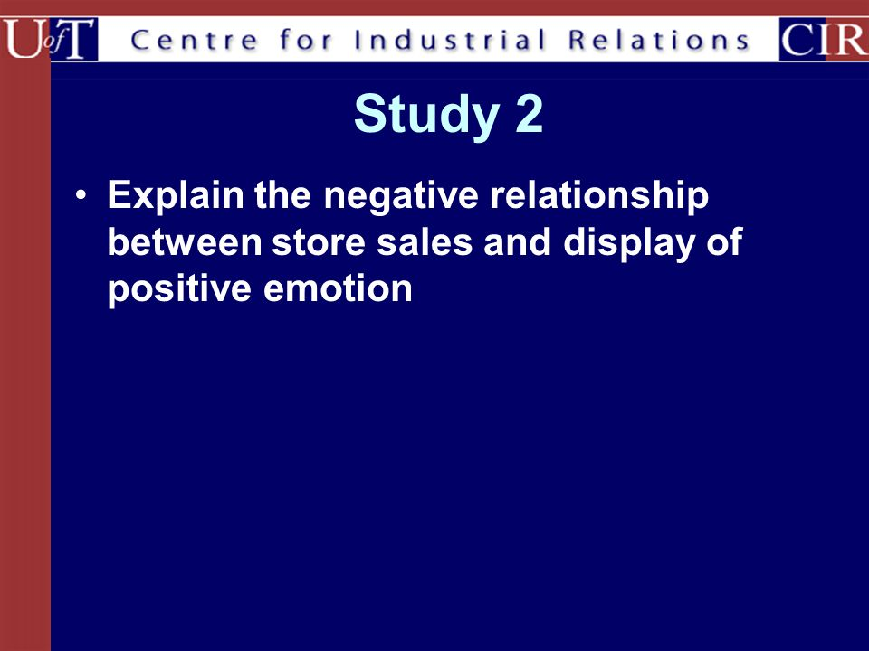 Study 2 Explain the negative relationship between store sales and display of positive emotion