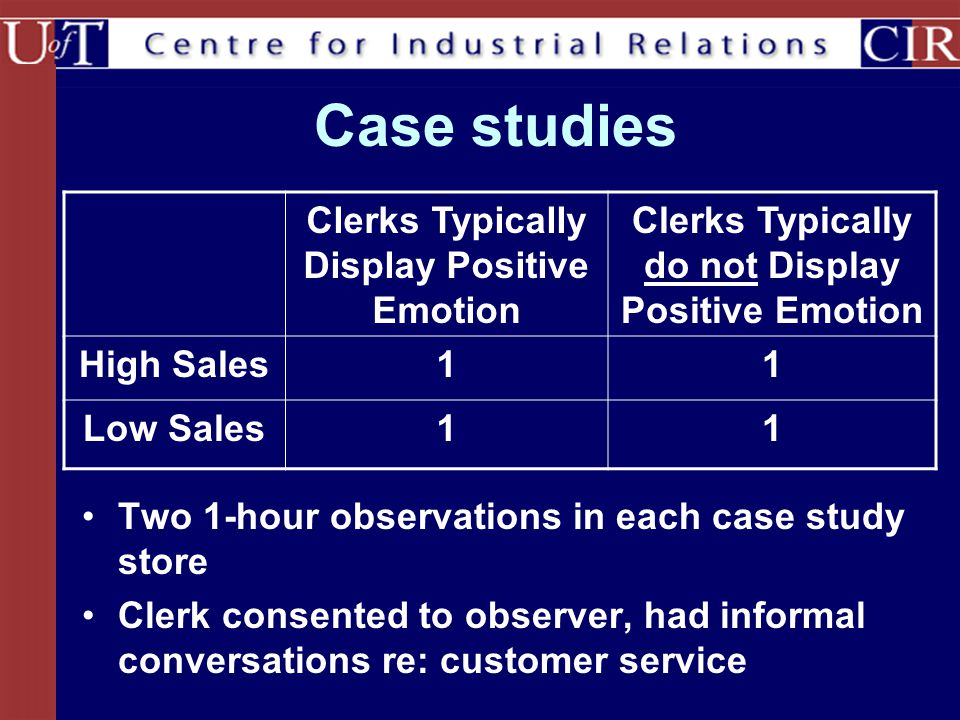 Case studies Clerks Typically Display Positive Emotion
