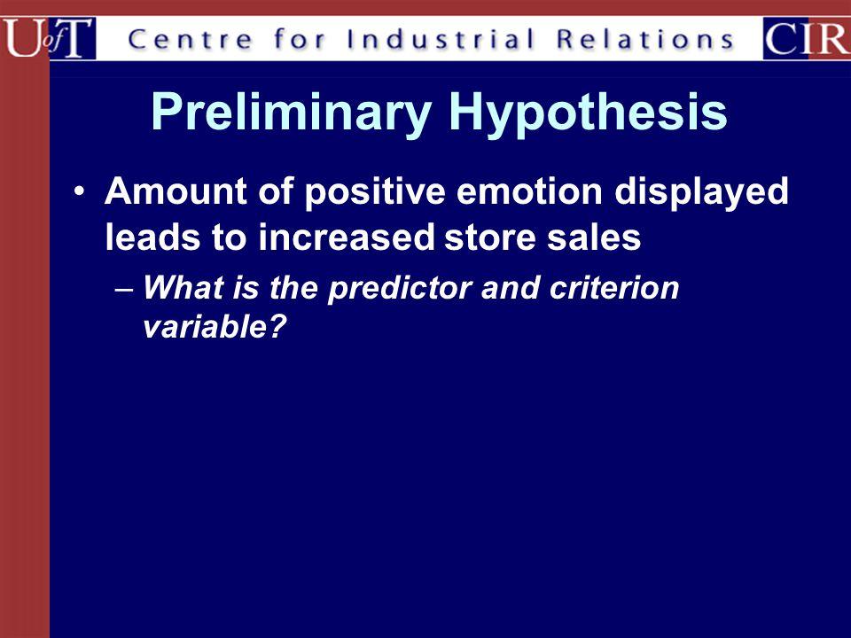 Preliminary Hypothesis