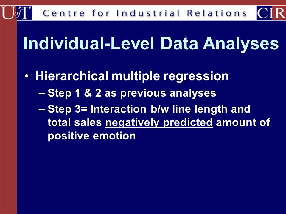 Individual-Level Data Analyses