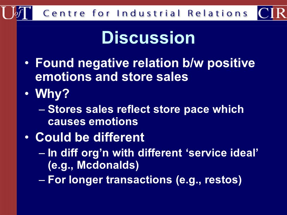 Discussion Found negative relation b/w positive emotions and store sales. Why Stores sales reflect store pace which causes emotions.