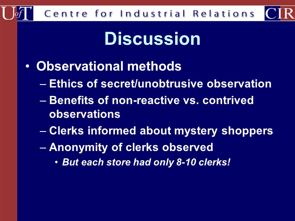 Discussion Observational methods