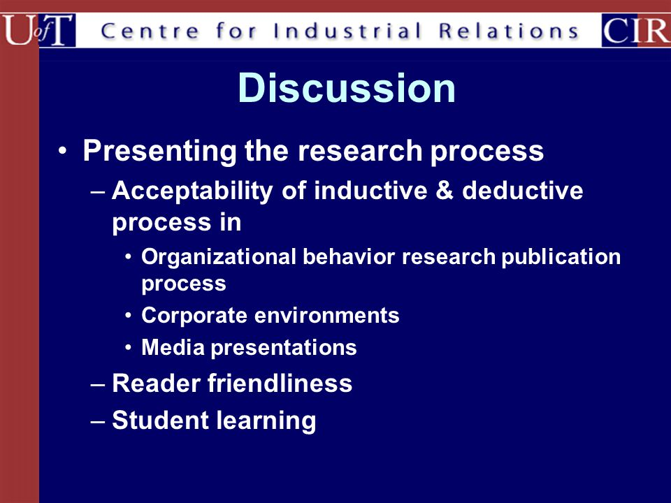 Discussion Presenting the research process