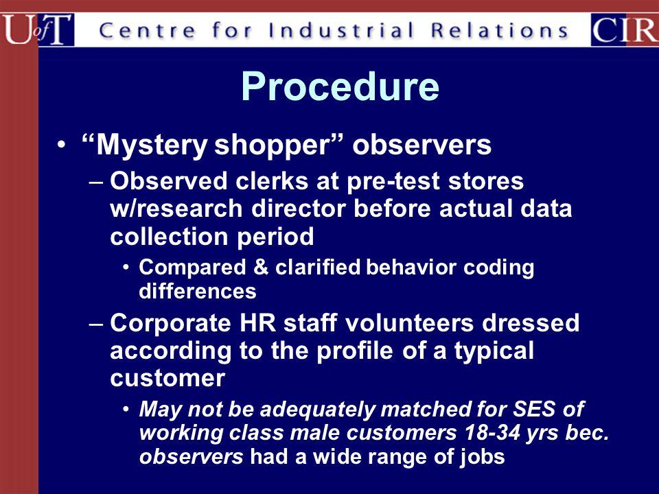 Procedure Mystery shopper observers