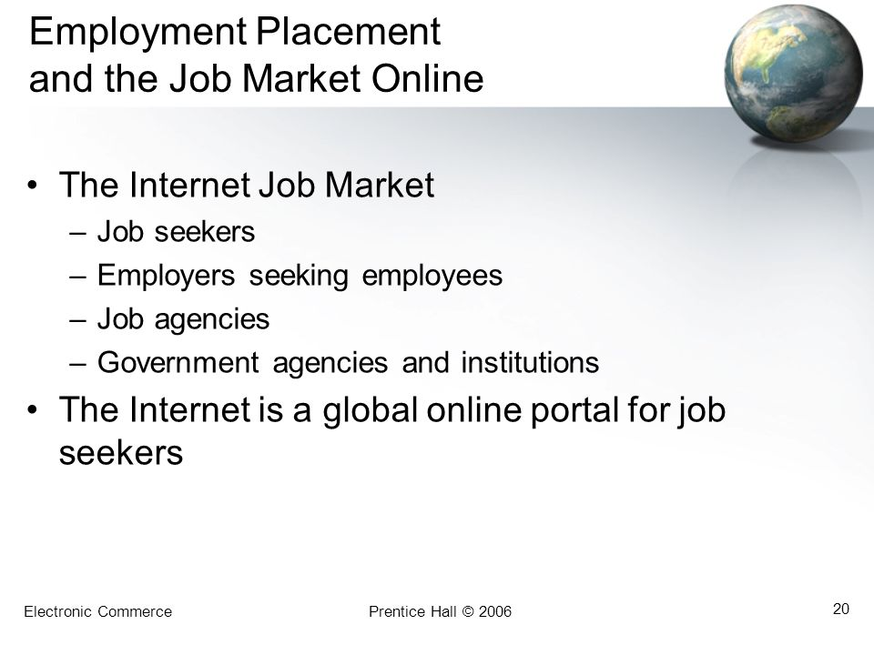 Employment Placement and the Job Market Online
