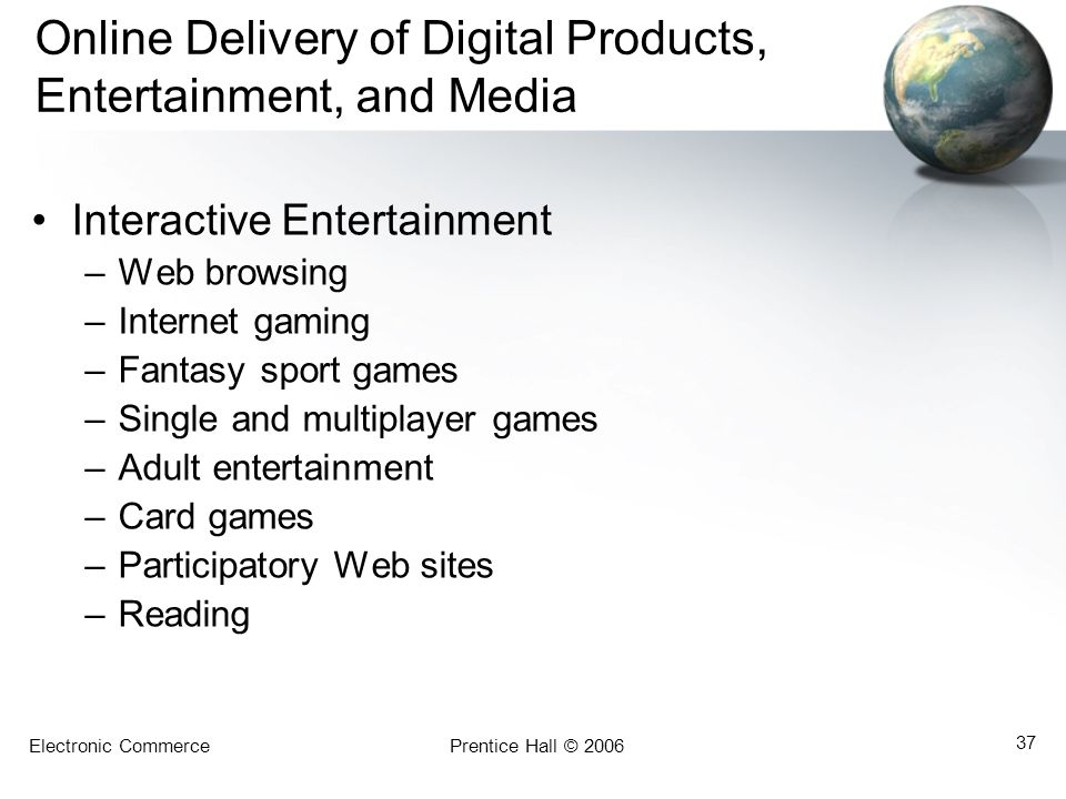 Online Delivery of Digital Products, Entertainment, and Media