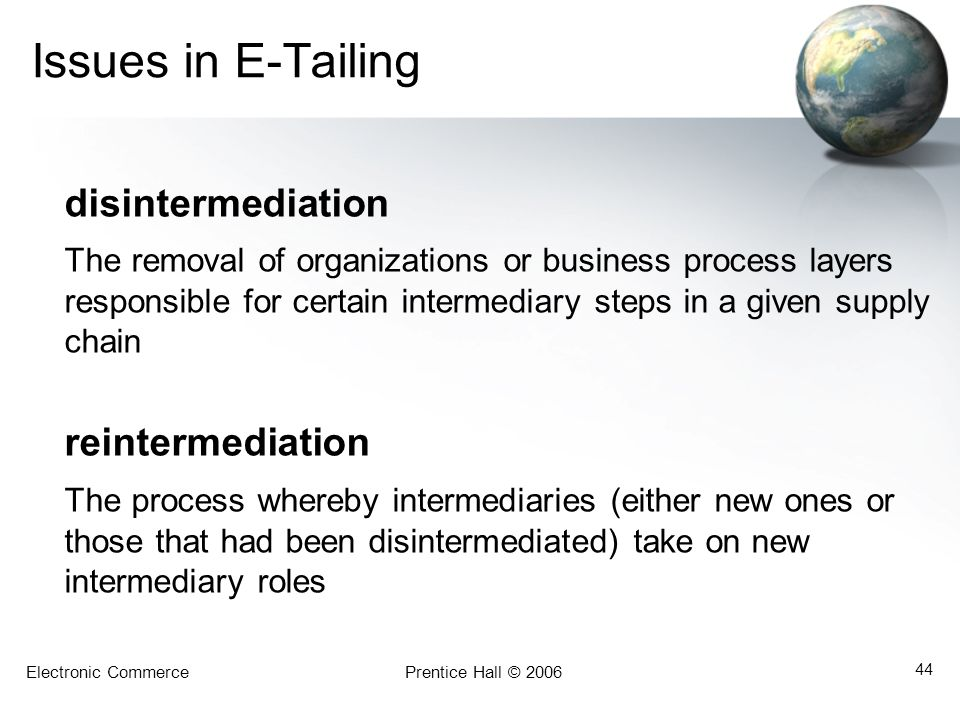 Issues in E-Tailing disintermediation