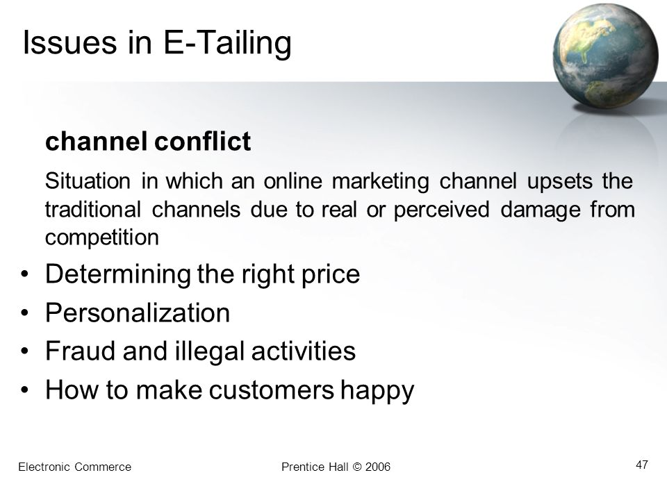 Issues in E-Tailing channel conflict
