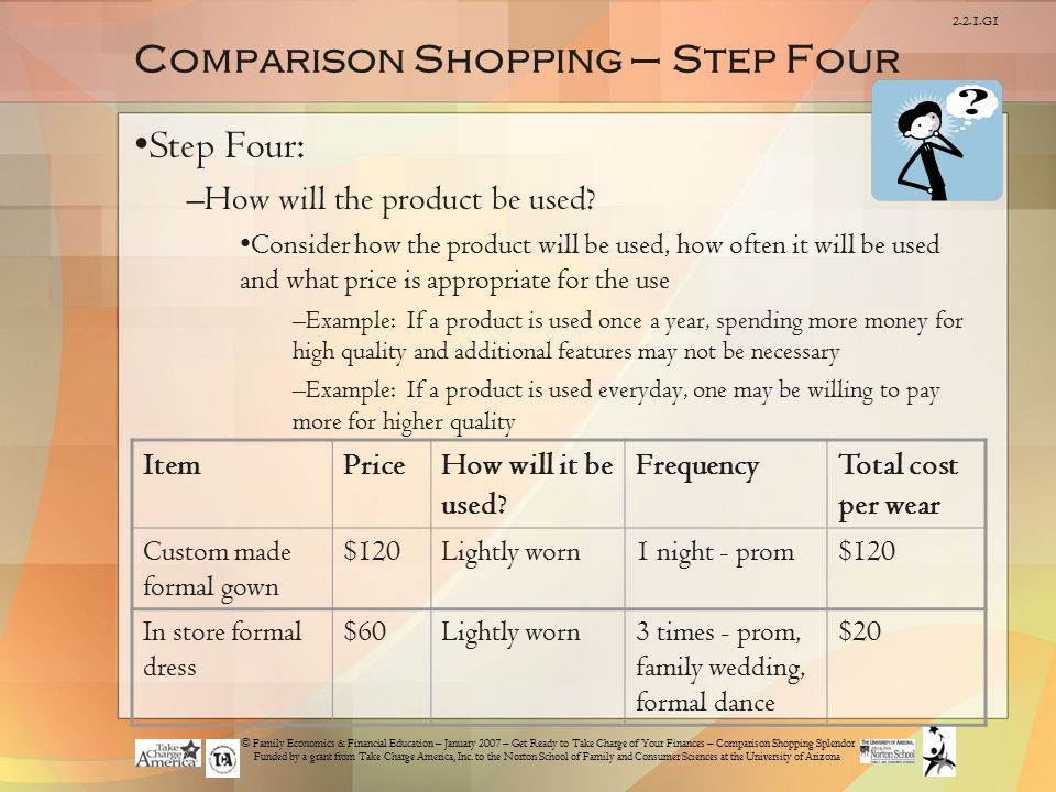 Comparison Shopping – Step Four