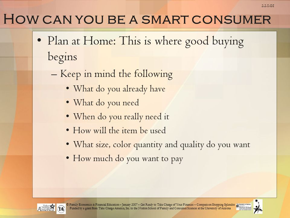 How can you be a smart consumer