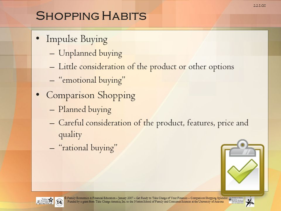 Shopping Habits Impulse Buying Comparison Shopping Unplanned buying