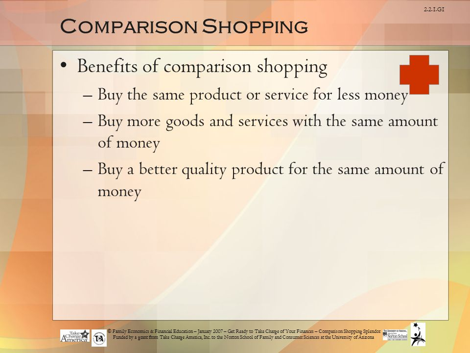 Benefits of comparison shopping