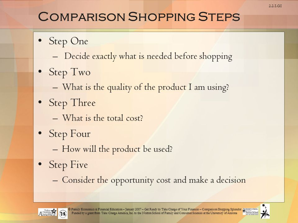 Comparison Shopping Steps
