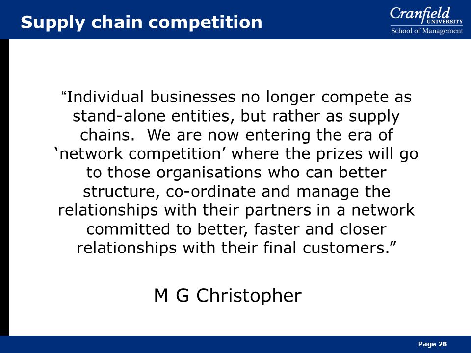 M G Christopher Supply chain competition