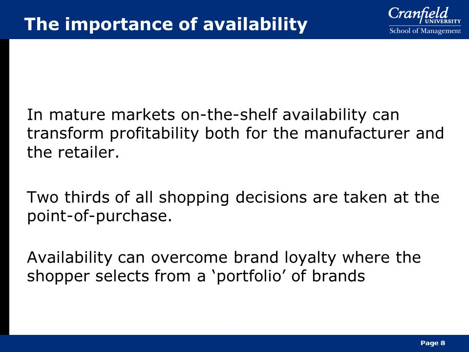 The importance of availability