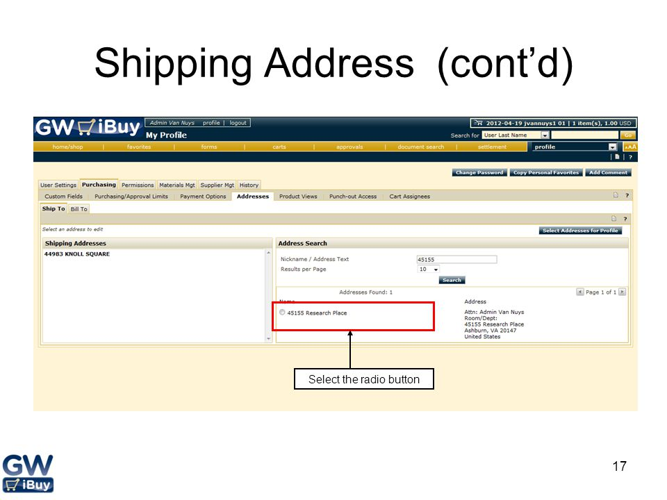 Shipping Address (cont'd)