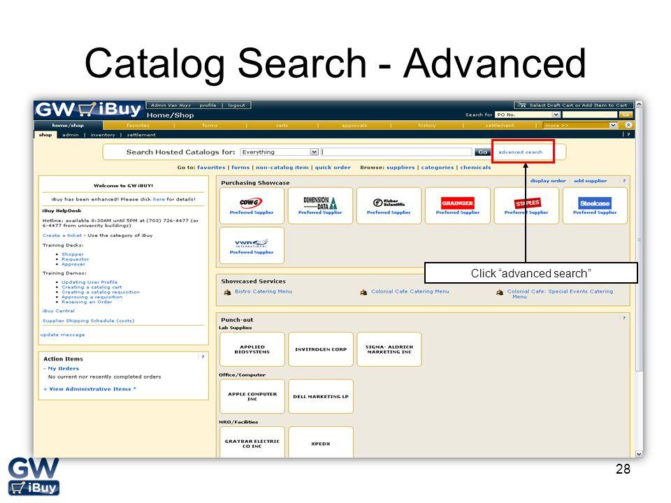 Catalog Search - Advanced