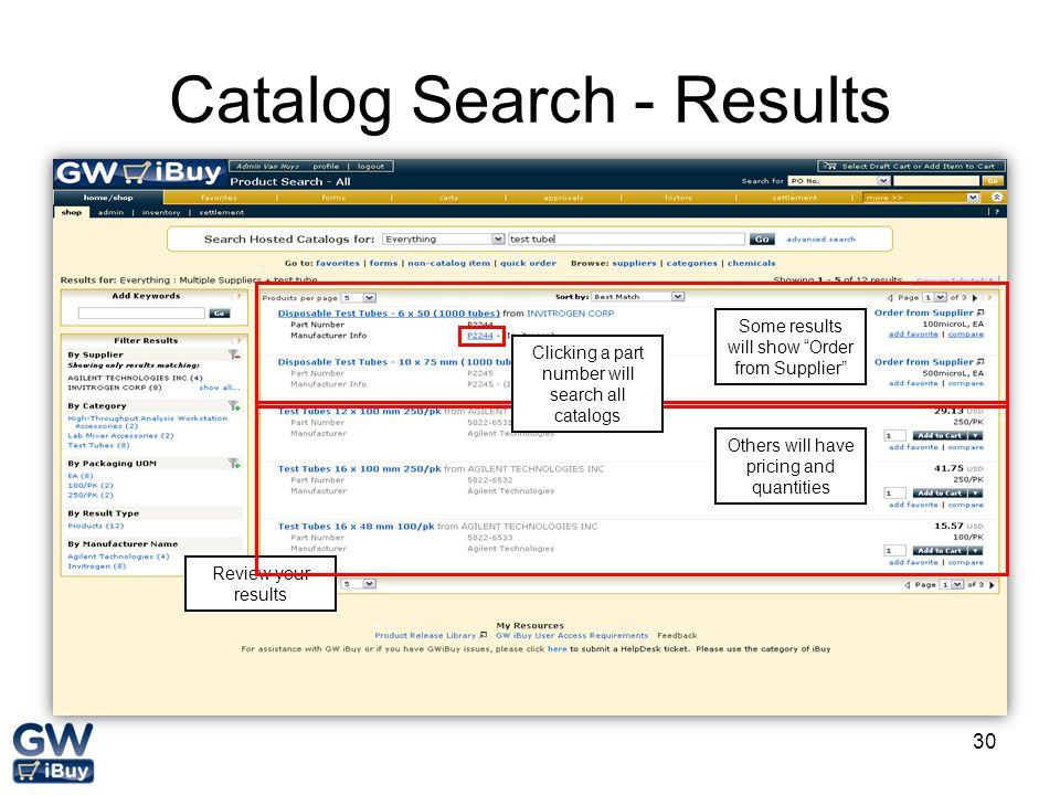 Catalog Search - Results