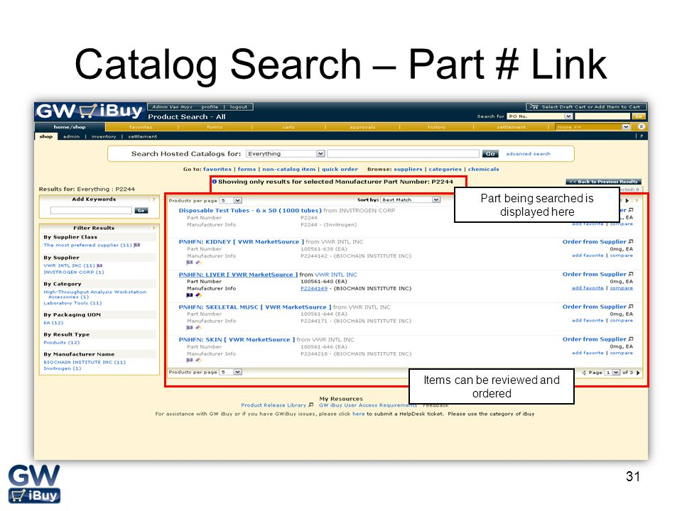 Catalog Search – Part # Link