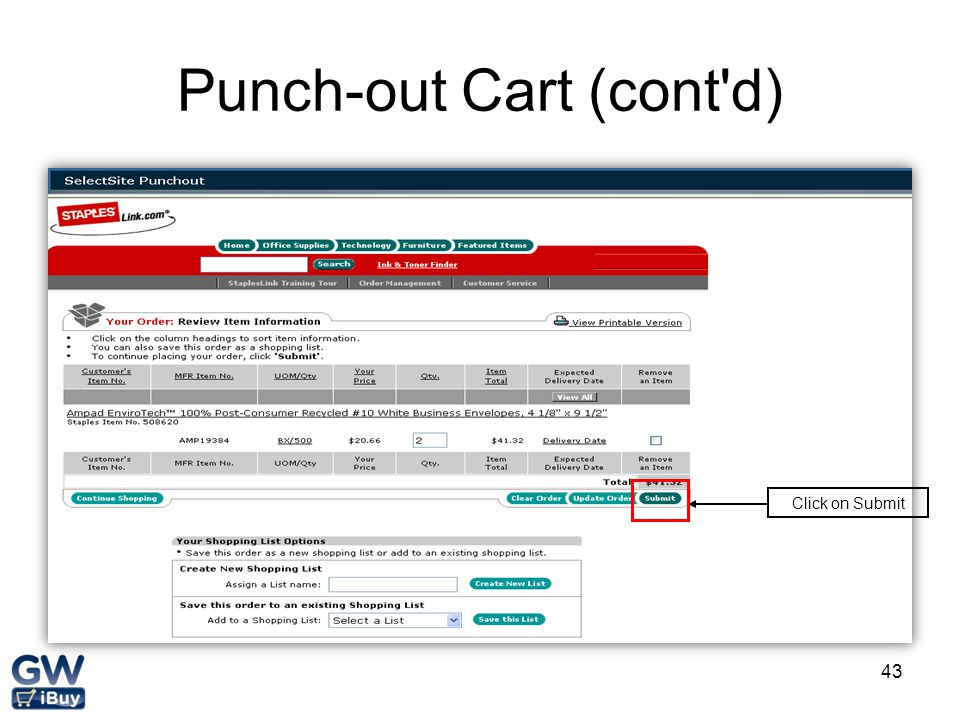 Punch-out Cart (cont d)