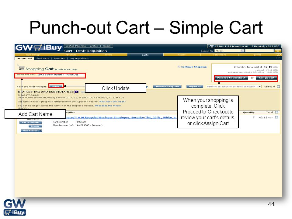 Punch-out Cart – Simple Cart
