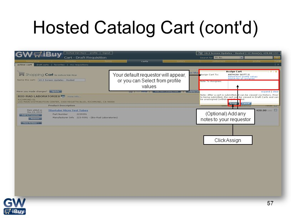 Hosted Catalog Cart (cont d)