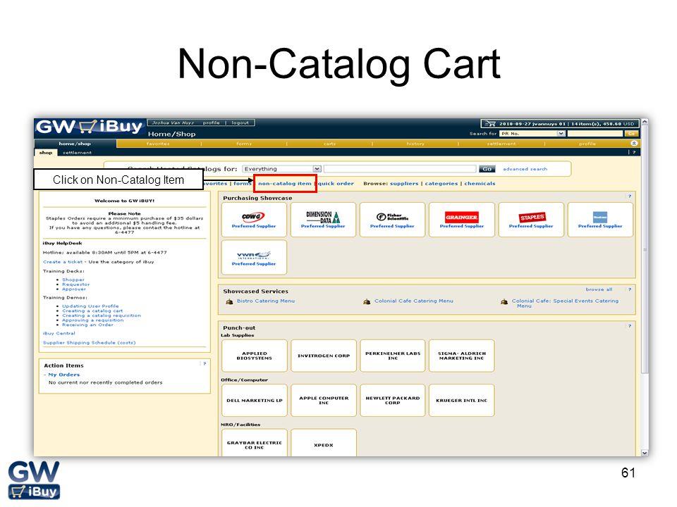 Click on Non-Catalog Item