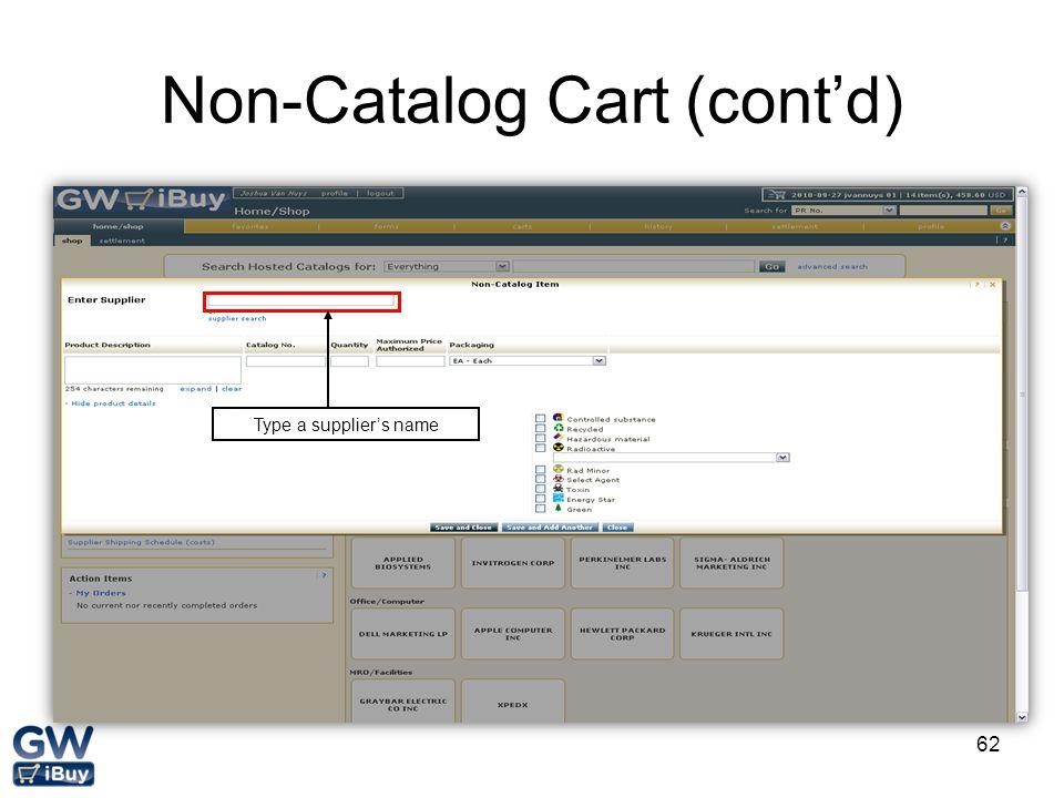 Non-Catalog Cart (cont'd)