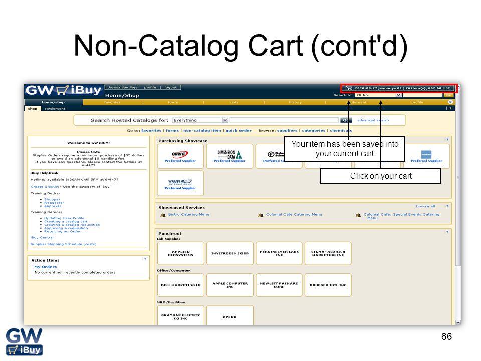 Non-Catalog Cart (cont d)