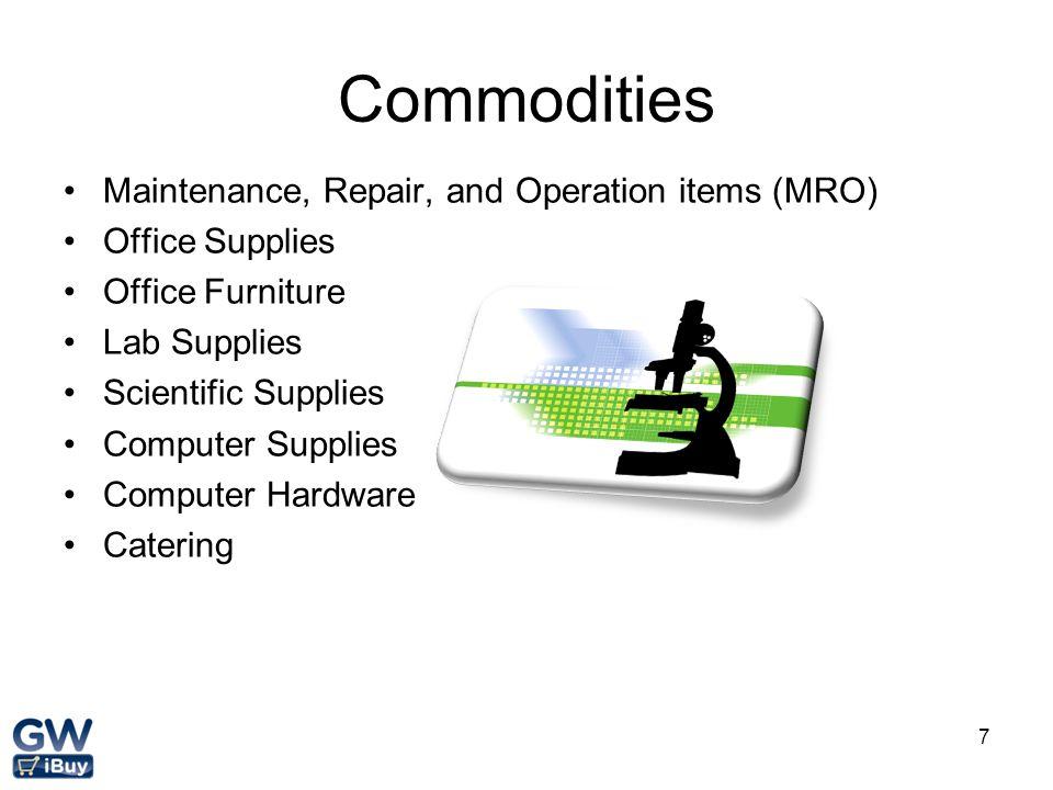 Commodities Maintenance, Repair, and Operation items (MRO)