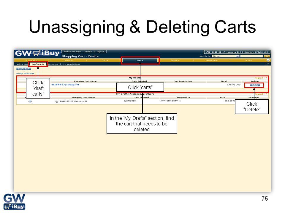 Unassigning & Deleting Carts