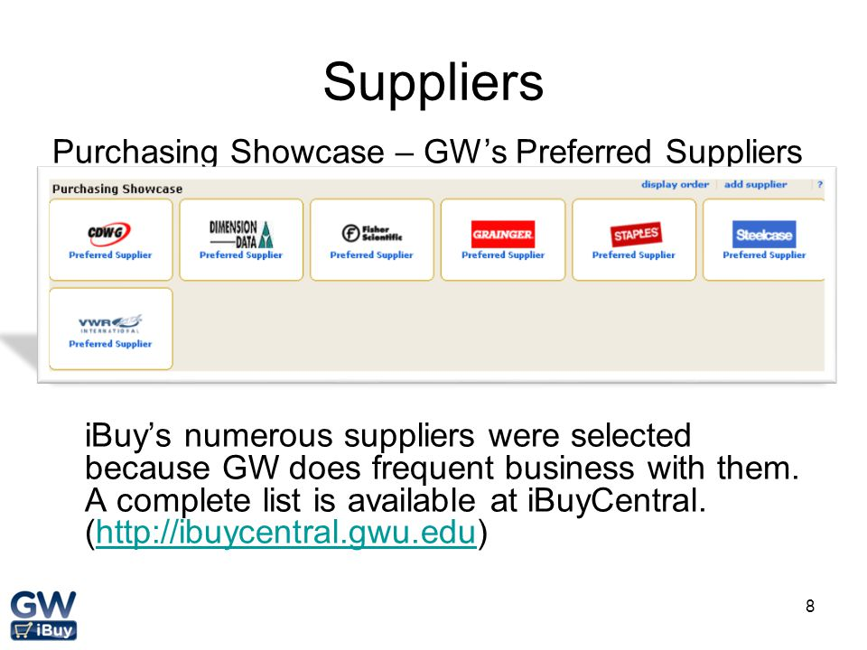 Suppliers Purchasing Showcase – GW's Preferred Suppliers