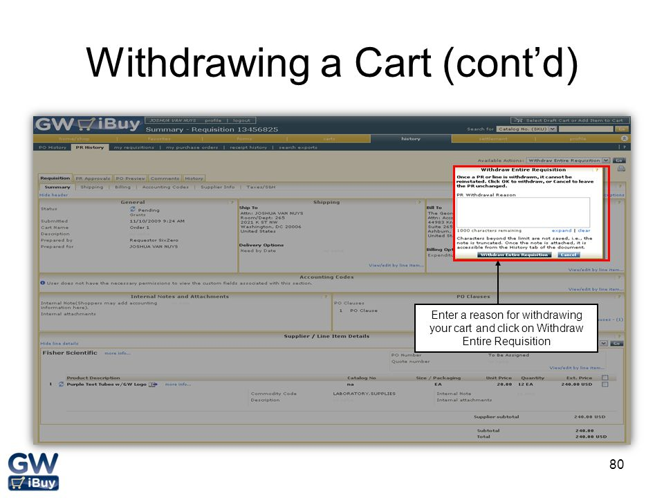 Withdrawing a Cart (cont'd)