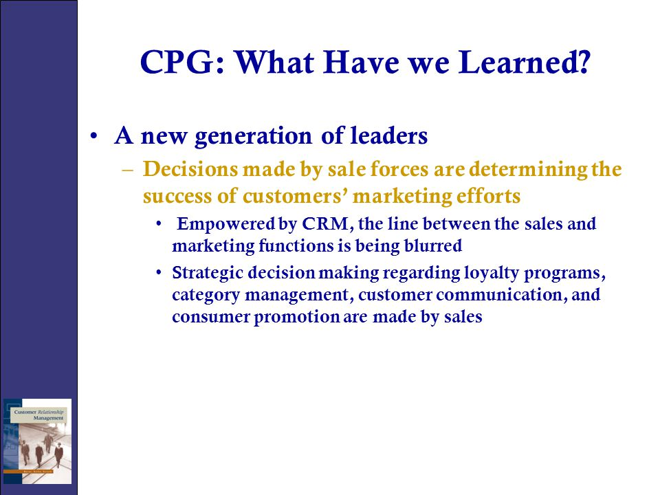 CPG: What Have we Learned