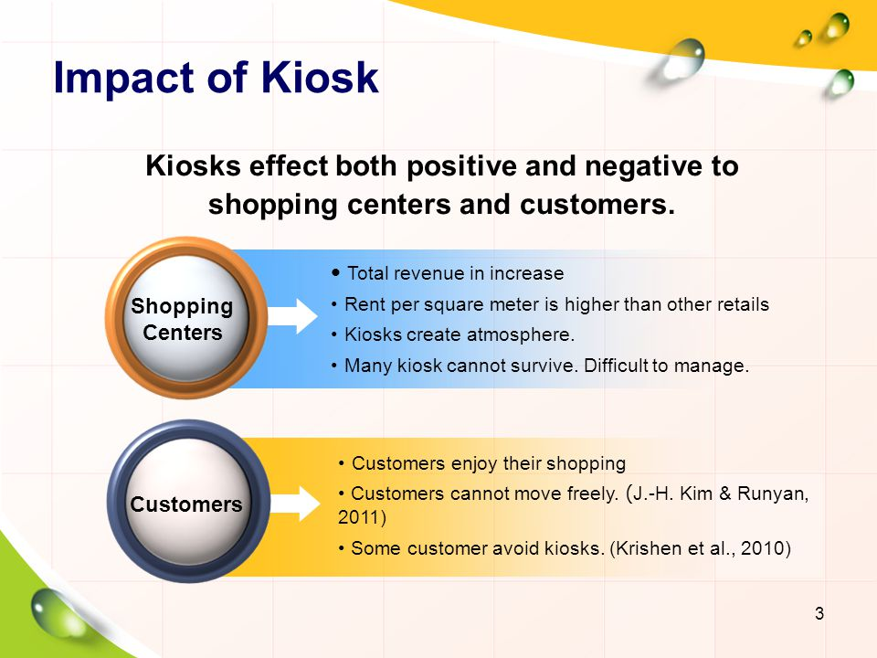 Impact of Kiosk Kiosks effect both positive and negative to shopping centers and customers. Total revenue in increase.