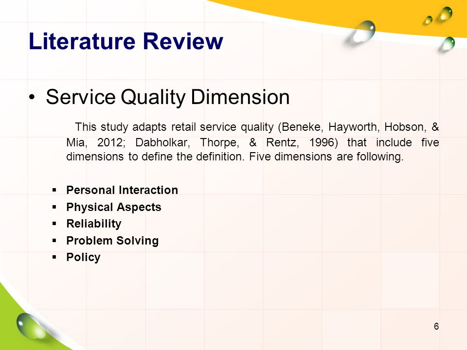 Literature review service quality