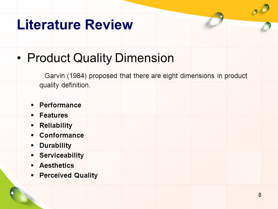 Literature Review Product Quality Dimension