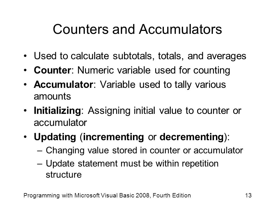 Counters and Accumulators