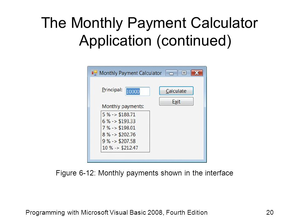 The Monthly Payment Calculator Application (continued)