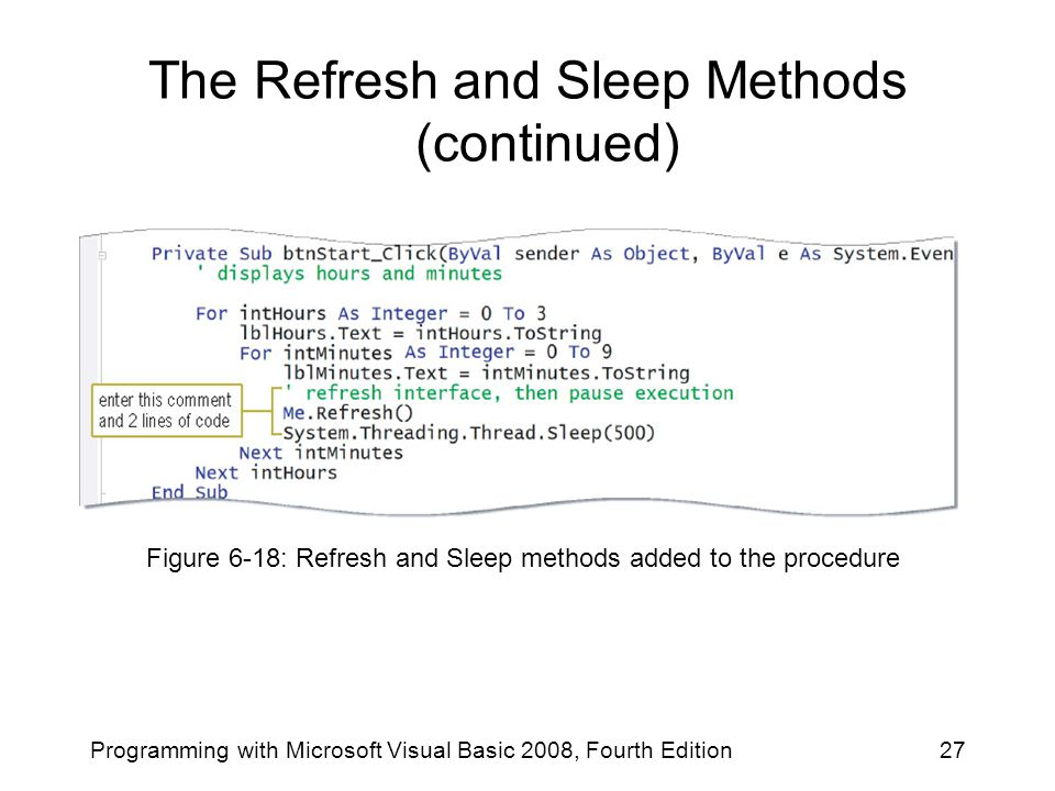The Refresh and Sleep Methods (continued)