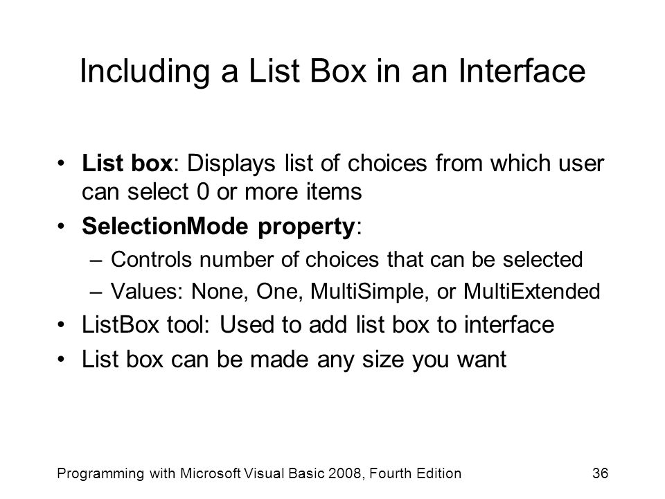Including a List Box in an Interface