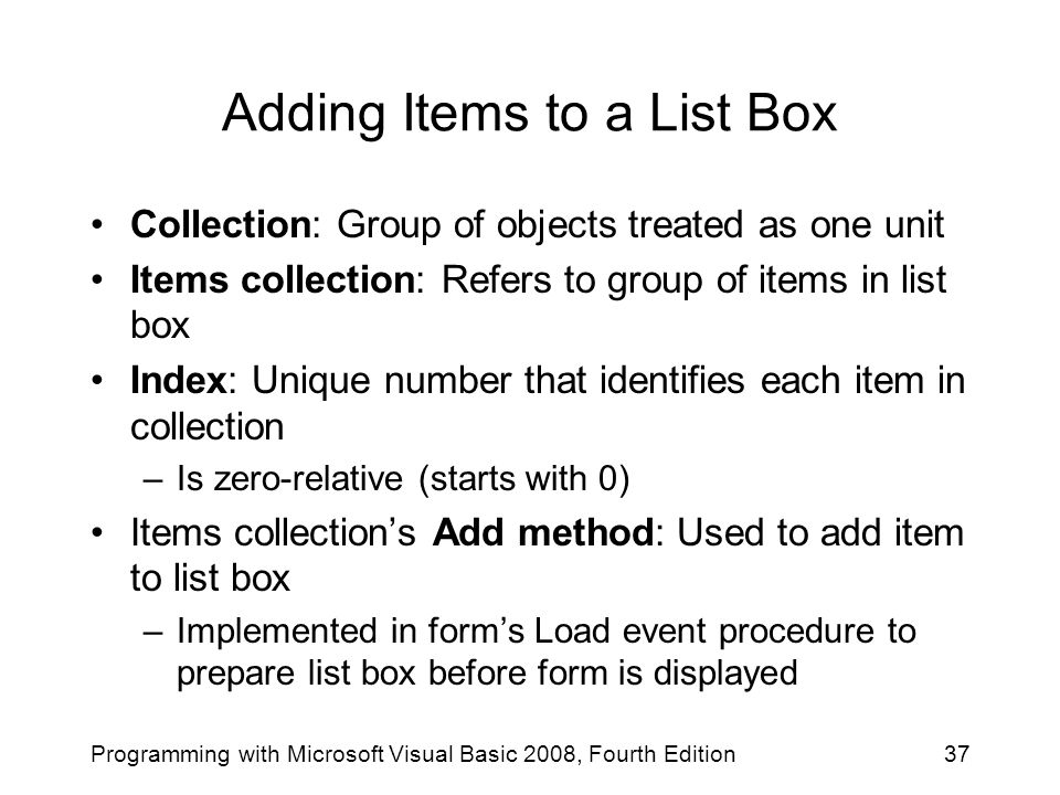 Adding Items to a List Box