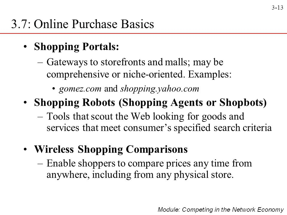 3.7: Online Purchase Basics