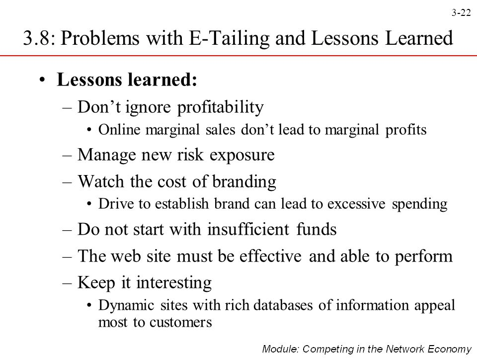 3.8: Problems with E-Tailing and Lessons Learned