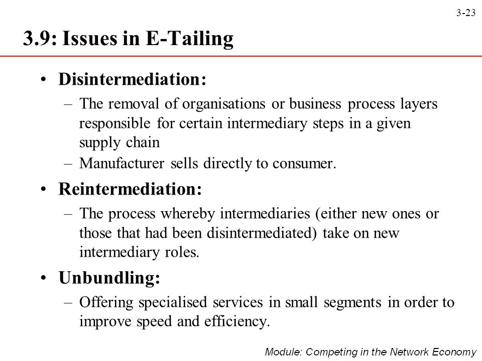 3.9: Issues in E-Tailing Disintermediation: Reintermediation: