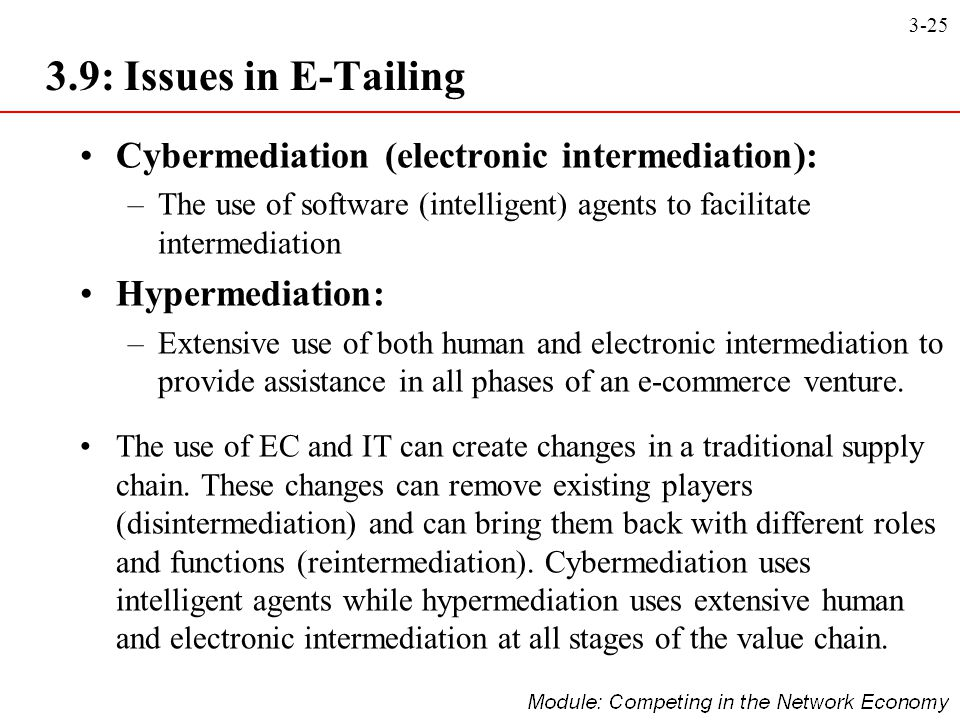 3.9: Issues in E-Tailing Cybermediation (electronic intermediation):