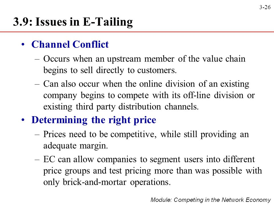 3.9: Issues in E-Tailing Channel Conflict Determining the right price
